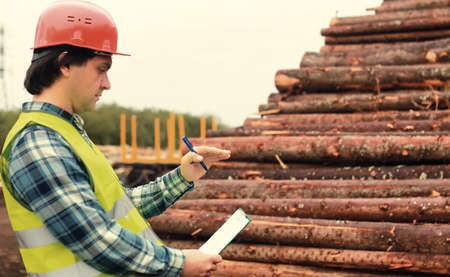 the working construction foreman in his place considering materials and work plan Stock Photo