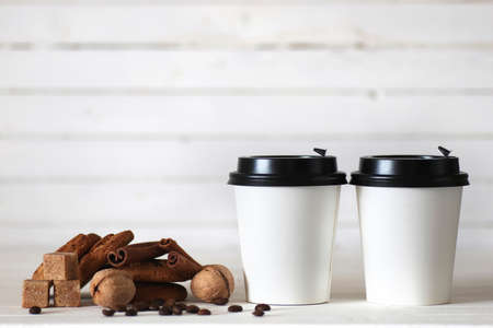 coffe paper cup bean on white isolated background Stock Photo