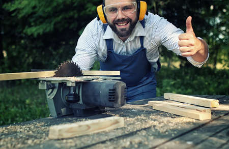 desktop items, and the process of preparation of wood for sawing and construction Stock Photo