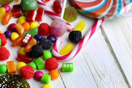 liquorice: colorful and fragrant unhealthy jelly and fruit candy on the table Stock Photo