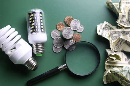 very significant concept of energy saving and the emergence of new ideas Stock Photo