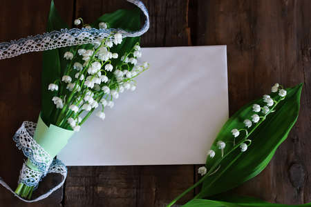 space text: bouquet of lilies of the valley and space text