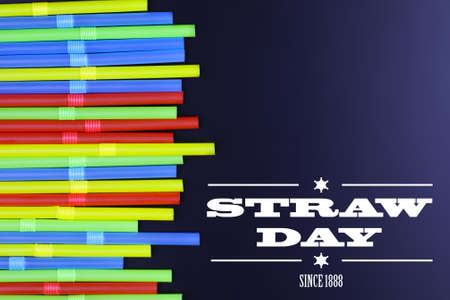 wordwide: straw day since 1888 text on background colorful cocktail tubes lie on a black background