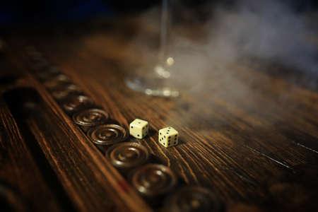 game table handmade dice and backgammon Gambling