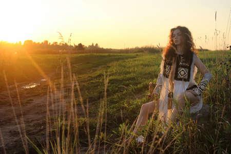 girl clothes amazon nature sunset