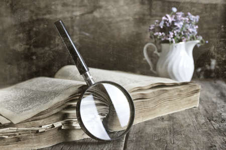 bible flower: old scratched effect on photo magnifying glass and old book Stock Photo