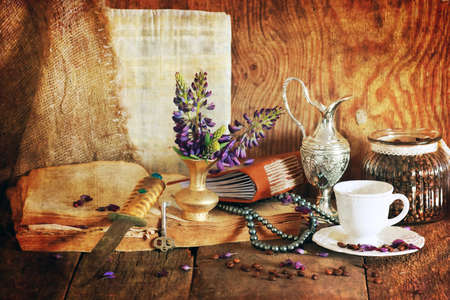 holy jug: retro scratched effect concept arabian faith with book and flowe