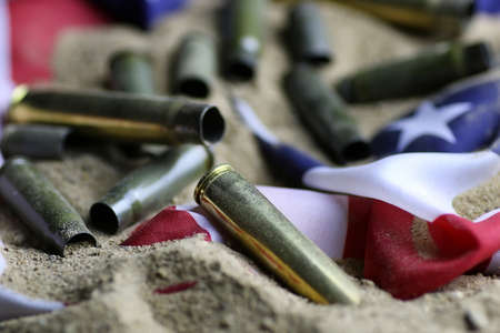 bullet and usa flag in the sand war