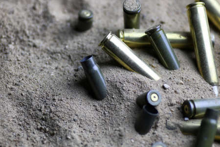 casings: bullet in the sand Stock Photo