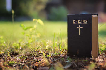 inscription on the book of the Bible Bible with cross in natur Stock Photo