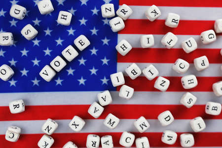 voted: election simbol on usa flag Stock Photo