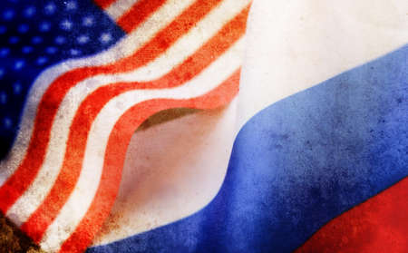 effect with scratches on photo russian and usa flag