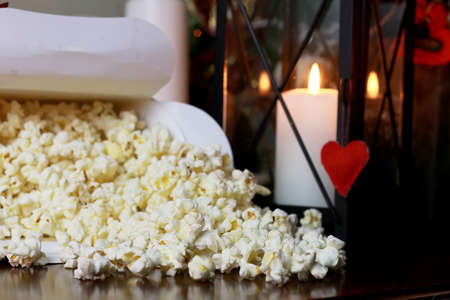 popcorn stack with heart shape
