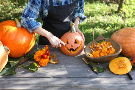 carve fresh pumpkins head for a Halloween Stock Photo