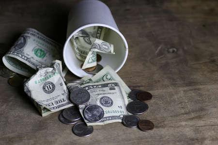 begging coin money Stock Photo