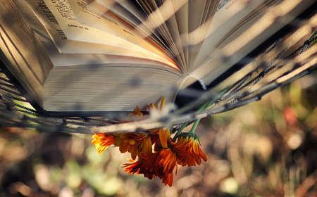 bible flower: open book nobody in a hammock Stock Photo