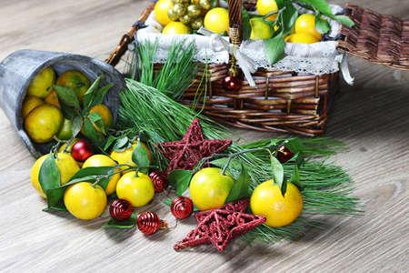 basket of mandarins new year Stock Photo