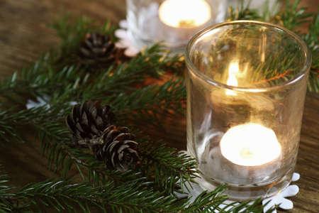 cosily: branch candlestick cone Stock Photo