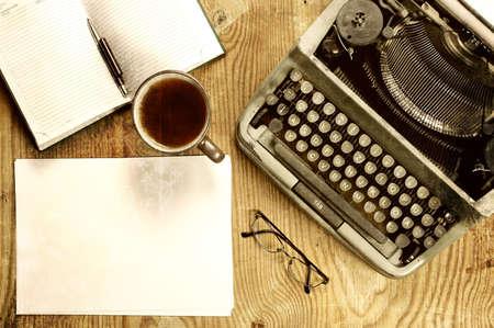 writer desktop with typewriter retro Stock Photo