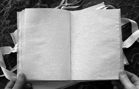 antiquarian: blank pages opened vintage book on the table