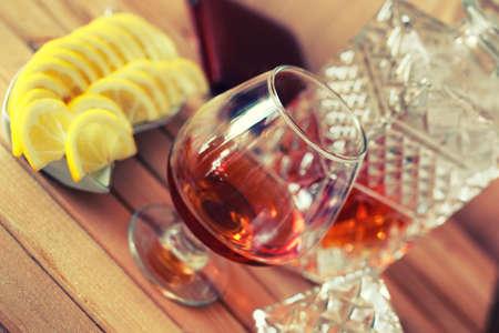 brandy alcohol set glass and carafe