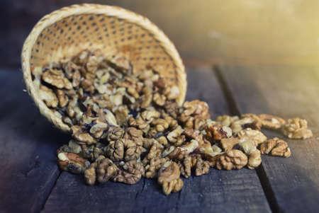 walnut on wooden background