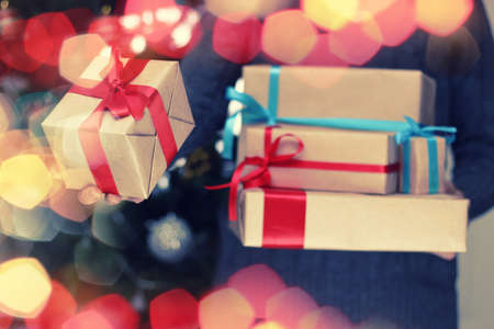 doorstep: stack of gifts for Christmas holidays background