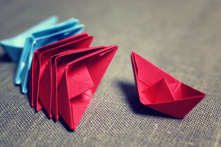 Colored paper boats Stock Photo