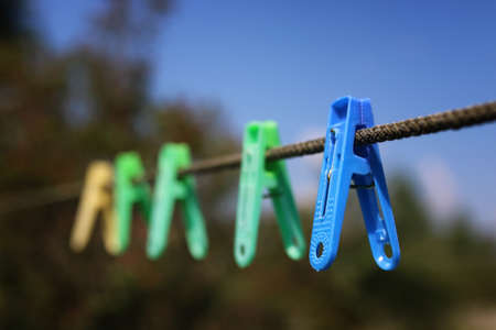 clothespin on the rope outdoor