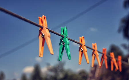 colored clothespin on the rope outdoor