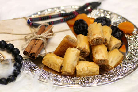 Eastern sweets table on a silver platter baklava and Tamarind
