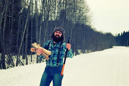 winter man axe wood
