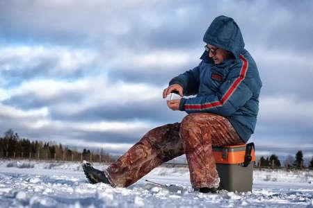 Lake Winter Fisherman Stock Photo
