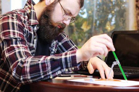 male notebook work bearded