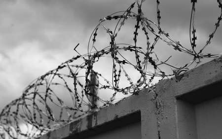 barbed wire fence: Concrete wall with barbed wire on the fence