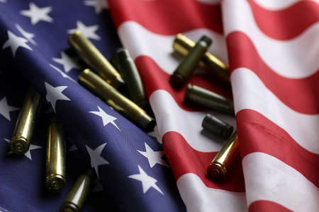 many shell casings from bullets of different caliber in the background chaos concept in the world Banque d'images