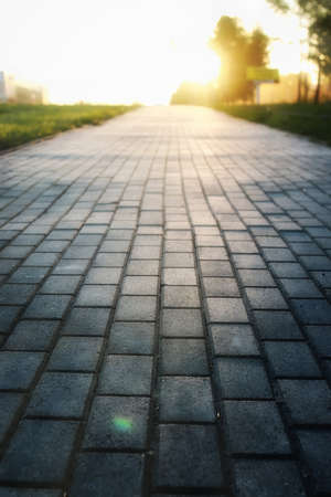 Gray paving stone path goes away the prospect in the sunset