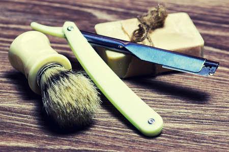 razor sharp soap brush Stock Photo