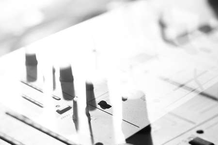 audio mixer: Details of elements and switches of musical DJ keypad