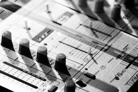 audio mixer: Background of details elements and switches of a musical DJ keyp Stock Photo