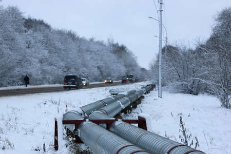 oil and gas industry: various objects of the winter season and lanscape in the best of this wonderful period