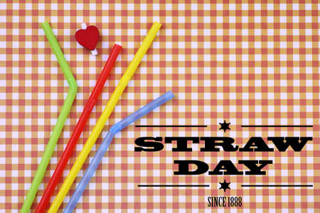 wordwide: straw day since 1888 text on background colorful cocktail tubes lie on a bright color background Stock Photo