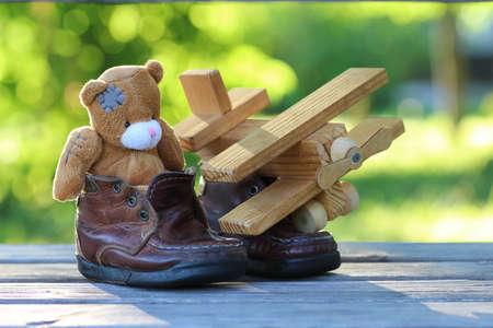 toy teddy bear table outdoor Stock Photo