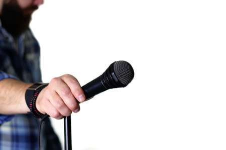 microphone on stage hand hold Stock Photo