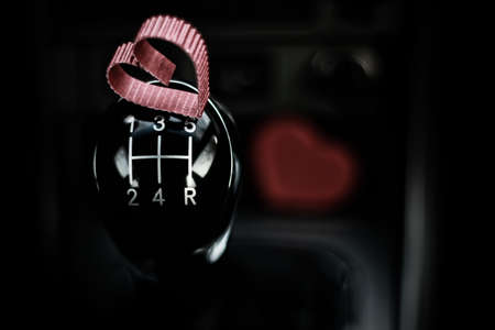 heart shape on manual gearbox in the car Фото со стока