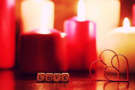 macro candle light with heart shape