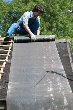a man in the form of a builder Stock Photo