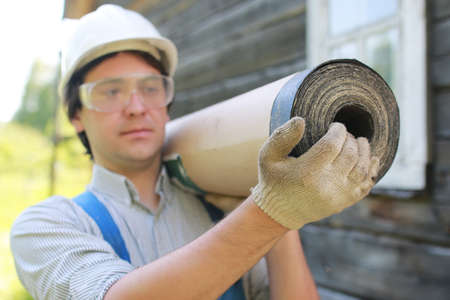 a man in the form of a builder Standard-Bild