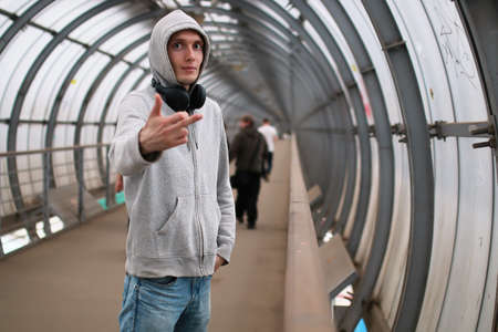 a young man in a hoodie hip-hop Stock Photo