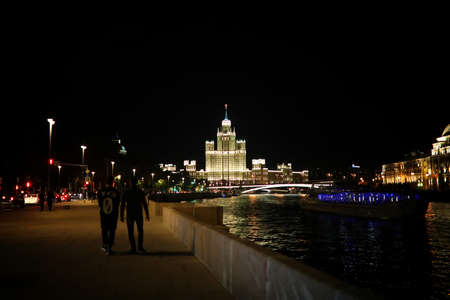 Architecture of the capital of Russia at night with bright illumination